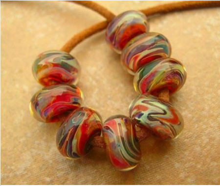 5FISH-Handmade-Lampwork-Murano-Italian-Glass-Set-Spacer-Beads-Sweet-Almond